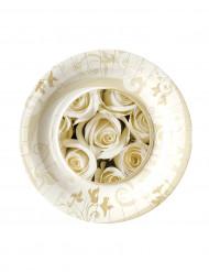 8 piattini di cartone rose bianche 18 cm