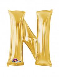 Palloncino alluminio gigante lettera N oro 60 x 81 cm