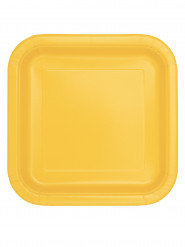 16 piattini quadrati in cartone giallo girasole 17 cm