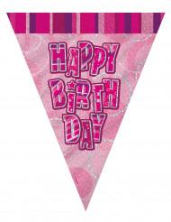 Ghirlanda bandierine Happy Birthday rosa