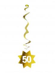6 sospensioni dorate con numero 50
