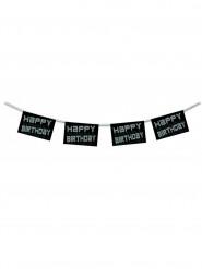 Ghirlanda Happy Birthday bianca e nera