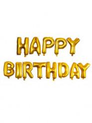 Palloncini di alluminio oro Happy Birthday