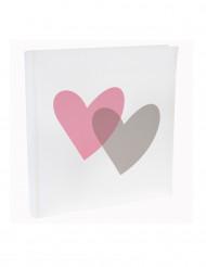 Libro firme con 2 cuori rosa e grigio