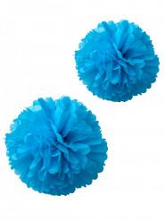 2 pon pon in carta velina turchesi 40 e 50 cm
