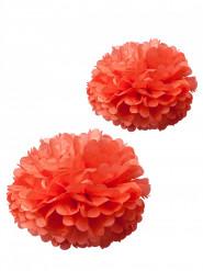 2 pon pon in carta velina corallo 40 e 50 cm