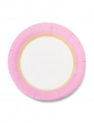 12 piattini in cartone con bordo rosa 18 cm
