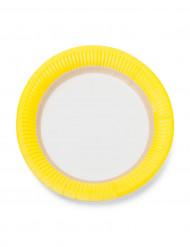12 piattini in cartone con bordo giallo 18 cm