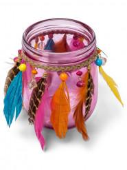 Portacandele di vetro gipsy rosa
