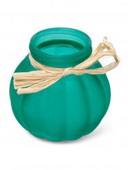 Vaso di vetro verde con rafia