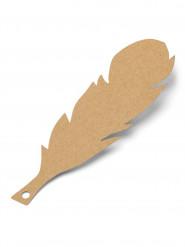 10 etichette piume kraft con filo