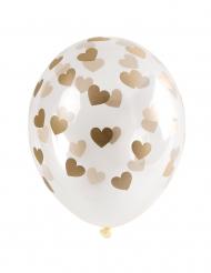 6 palloncini trasparenti con cuori dorati