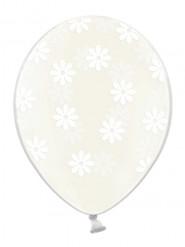 6 palloncini trasparenti con fiori bianchi