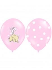 6 palloncini rosa con elefanti