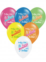 6 palloncini multicolor Happy Birthday