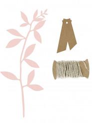 6 Segnaposto foglie rosa e etichette kraft