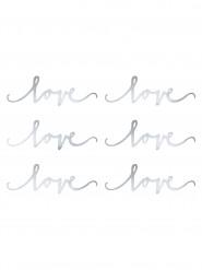 6 decorazioni da tavola Love argento
