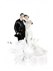 Statuina sposi con rose bianche