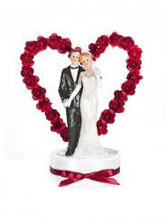 Statuina sposi con arco a cuore rosso