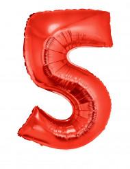 Palloncino alluminio gigante rosso numero 5