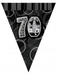Ghirlanda con bandierine grigia 70 anni