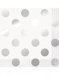 16 tovagliolini bianchi con pois argento