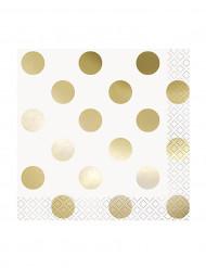 16 tovagliolini bianchi con pois oro