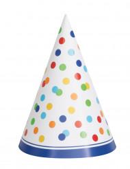 8 cappellini da festa a pois multicolor