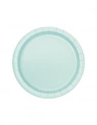 20 piattini in cartone color menta 18 cm