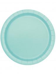 16 piatti in cartone color menta 23 cm