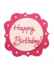 Decorazione di zucchero Happy Birthday rosa e bianca