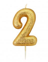 Candela numero 2 brillantini oro