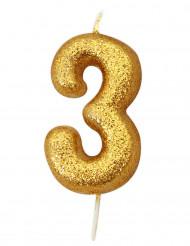 Candela numero 3 brillantini oro