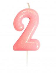 Candela numero 2 rosa iridescente