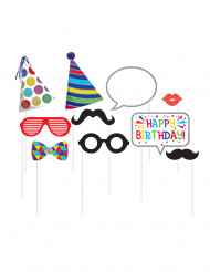 Kit 10 accessori photobooth compleanno