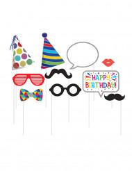 Kit 10 accessori photobooth compleanno