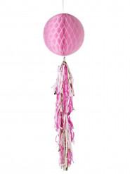 Sfera di carta alveolata rosa con nastri