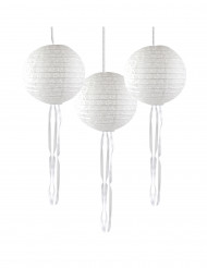3 lanterne bianche di carta dentellata con nastri