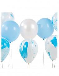12 palloncini sfumati blu e bianchi