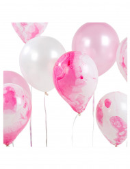 12 palloncini sfumati rosa e bianchi