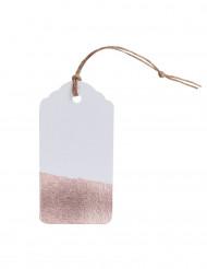 10 etichette bianche e color rame