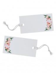 10 etichette bianche con motivo floreale