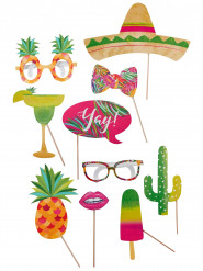 Kit photobooth da 10 pezzi tema tropicale