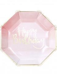 8 piatti in cartone rosa e oro Happy Birthday 25 cm