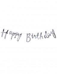 Ghirlanda Happy Birthday color argento