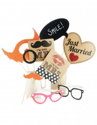 Kit 10 accessori photobooth matrimonio vintage