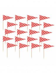 36 bandierine con stecchino a quadri rossi e bianchi