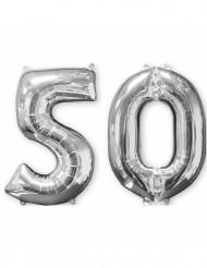 2 palloncini in alluminio argento 50 anni