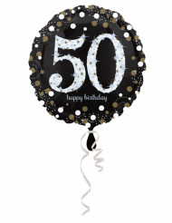 Palloncino alluminio Happy Birthday scintillante 50 anni