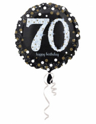 Palloncino alluminio Happy Birthday scintillante 70 anni